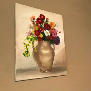 "Wall Art - Original Oil Painting flowers Still 15x19"""